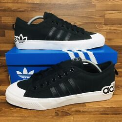 🚨Adidas Originals Nizza Men's Athletic Skate Casual Sneakers Black White Shoes $49.99