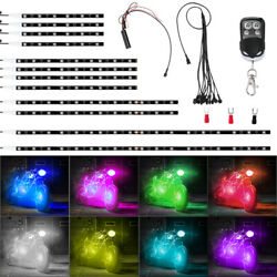 12pc Motorcycle RGB LED Neon Under Glow Lights Strip 120 LED For Universal IP65 $7.99