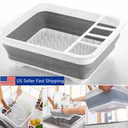 14quot; Dish Rack Collapsible Drying Drainer Kitchen Foldable Folding Plate Storage $12.69