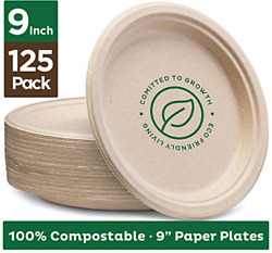 Stack Man 100% Compostable 9quot; Paper Plates 125 Pack Heavy Duty Quality Natural $17.21