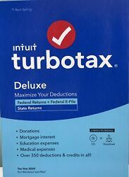 INTUIT TURBOTAX DELUXE 2020 FEDERAL amp; STATE RETURN DISC INSIDE NEW $47.95