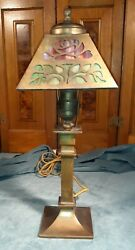 Antique slag glass 8 panel lamp circa 1900 1910 $250.00