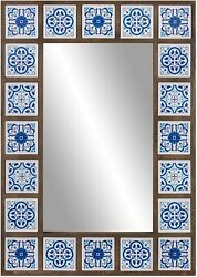 Blue White Tile Framed Wall Mirror Moroccan Rectangle Wood Ceramic Indigo Metal $172.95