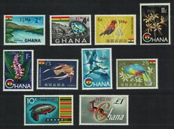 Ghana Birds Fish Orchids Antelope New Currency 10v 1967 MNH SG#445 454 GBP 16.15