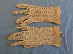 Vintage Gloves Small Medium off white cream crochet 7quot; Lord amp; Taylor France $8.99