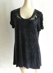 T Party Tunic Short Sleeve Rustic Distressed Cut Out Holes Loose Fit Size S $23.99