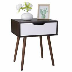 Wooden End Side Table for Small Spaces Nightstand Bedroom with Drawer $42.99