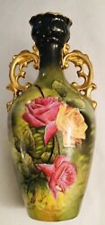Antique Victoria Carlsbad Austria Vase Green w Pink and Yellow Roses 1891 1918 $55.00