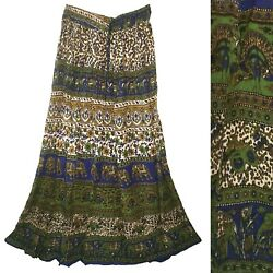 Plus Size Indian Rayon Crinkle Skirt Long Dress Ladies Women Ethnic Boho For $19.99