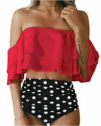 Tempt Me Women Two Piece Swimsuit High Waisted Ruffled Flounce C red Size 1.0 $9.99