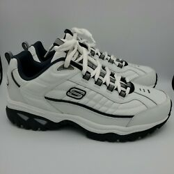 Skechers Sport Leather Athletic Shoes Mens 13 WIDE 50081EW WNV White Navy $34.90