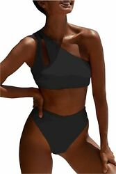 Womens Crop Top Swimsuit High Waisted One Shoulder Sports Black 2 Size Medium $9.99