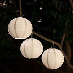 Chinese Lanterns Hanging Fabric Lamps Solar Powered LED Bulbs Porch 3 Pack White $46.50