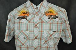 NUDIE JEANS Multi Color Plaid Retro Car Embroidered Beach S S Shirt XL $49.00