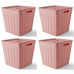 Pink Storage Basket Weave Large Plastic Bin Cut Out Handles With Lid 4 Count $47.79