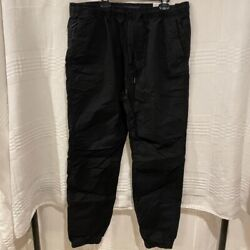 American Eagle Outfitters Mens Next Level Khaki Joggers Black Stretch Tall M New $23.99