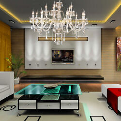 Luxurious 15 Arms Crystal Chandelier Light E12 K9 Crystal Ceiling Pendant Light $166.99