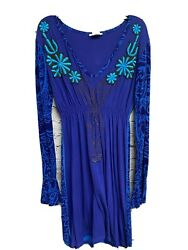 Krista Lee Women's Boho Dresses Blue Size Large Embrodiery Long Sleeve Peasant $20.00