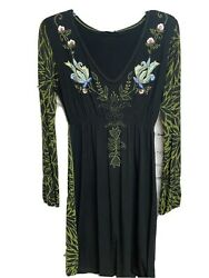 Krista Lee Women's Boho Dresses Black Size Large Embrodiery Long Sleeve Peasant $20.00