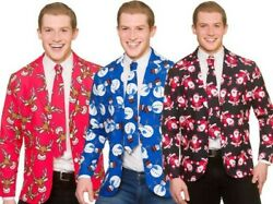 Christmas Suit Jacket Tie Matching Novelty Adults Xmas Fancy Dress M XL $36.67