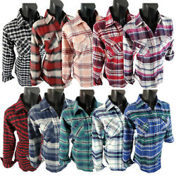 Flannel Plaid Shirt Womens Soft Pockets Pin Up Sleeves Regular and Plus Size Fit $18.95