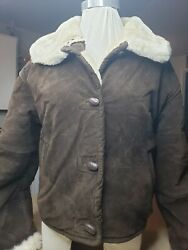 EXPRESS AVENUE DE L#x27;OPERA Leather Sherpa lined sz Small $39.99