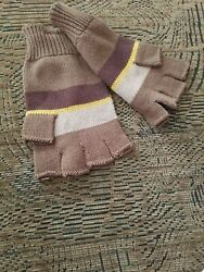 Fossil Striped Brown Tan 100% Cotton Fingerless Gloves Logo Knit unisex $12.99