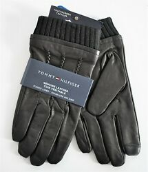 NEW Authentic TOMMY HILFIGER GENUINE LEATHER TOUCHSCREEN COMPATIBLE Gloves L XL $45.00