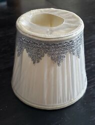 LightingCraft Clip On Fabric Mini Lamp Shade with elegant silver accents $5.00