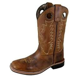 Smoky Mountain Women#x27;s Grainy Leather Stitched Pull On Square Toe Boot7 Brown $54.89