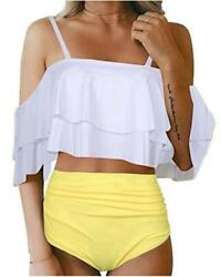 Tempt Me Women Two Piece Swimsuit High Waisted Off Shoulder Wt Yl 1 Size $9.99