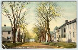 1912 BRISTOL RHODE ISLAND*CHURCH STREET*DIRT ROAD*HOUSES*ANTIQUE POSTCARD $17.36