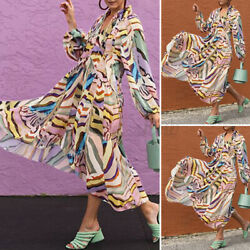 Womens Puff Sleeves Summer Beach Colorful Sundress Drawstring Swing Maxi Dresses $22.86