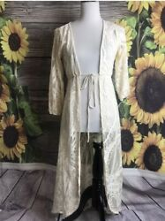 H.I.P Lace Long Kimono Duster Lace Jacket Top Topper size S small ivory Spring $10.20