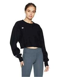 Champion Women#x27;s Reverse Weave Cropped Cut Off Crew Black Black Size Large $13.70