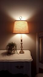 Vintage Baldwin Forced in America Brass Candlestick Table Lamp 24 1 2quot; w shade $115.87