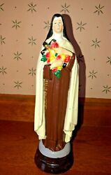 Vintage St Theresa Wooden Based Statue 8 1 2quot; $14.99