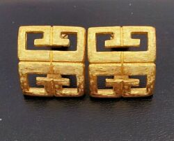 VINTAGE AUTHENTIC COUTURE GIVENCHY LOGO G#x27;s CLIP ON EARRINGS $85.00