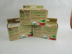 3 NATURAL HOME BRANDS 30 Pack Compost Bags for 1 1.3 amp; 1.8 Gallons Bins Green $22.45