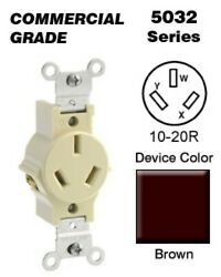 2 PK Leviton BLACK Single Bakelite 3W Flush RECEPTACLE 10 20R 20A 250V 5032 NEW