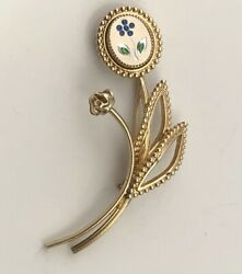 Vintage Flower Brooch gold tone metal $4.80