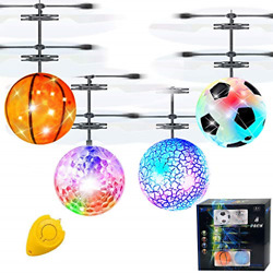 AMENON 4 Pack RC Flying Ball Toy Infrared Induction RC Helicopter Toy for Kids $32.87