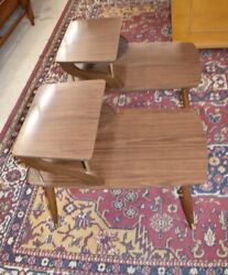 Mid Century End Side Tables A Pair Bedroom Nightstands $435.00