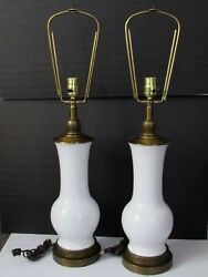 Pair Mid Century Hollywood Regency Chinese Vase Form White Porcelain Lamps 30quot; $280.00