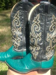 Vintage Justin#x27;s Women#x27;s Western Boots 7.5 M Bright Teal Lizard Great color $45.00