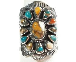 925 STERLING INTRICATELY ETCHED FLOWER SPINY OYSTER amp; TURQUOISE SIZE 6 RING $33.99