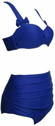 Nature Armour Two Piece Swimsuits for Women High Waisted Blue Size X Large ygb $9.99