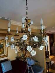 Antique Italian Gilt Tole White Porcelain Rose Chandelier Brass Gold White $1100.00