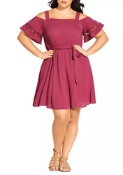 City Chic Trendy Plus Size 18 Dip Shoulder Dress Tea Rose $19.90