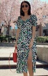 Hamp;M FLORAL PUFF SLEEVED DRESS GREEN PINK MAXI LONG BOHO S SMALL PUFF SLEEVE TOP $9.99